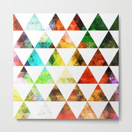 Funky Bright Triangles Metal Print