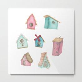 Watercolour Bird Houses Metal Print
