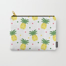 Tropical fruit sunshine yellow green pineapple polka dots Carry-All Pouch