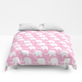 Elephant Parade on Pink Comforters