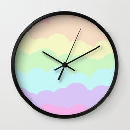 Rainbow Ombre Clouds Wall Clock