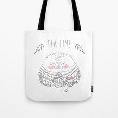 tea time cat Tote Bag
