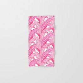 Pink banana leaves tropical pattern on white Hand & Bath Towel