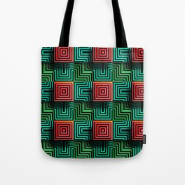 Color op art squares and striped lines with realistic effect Tote Bag