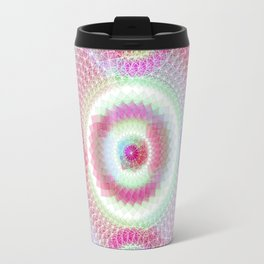 Orb mandala 5 sky blue / crimson Travel Mug