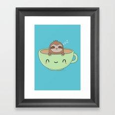 Kawaii Cute Lazy Sloth Framed Art Print