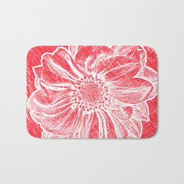 White Flower On Crayon Red Bath Mat