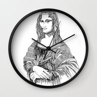 mona lisa Wall Clocks featuring Mona Lisa by April Gann
