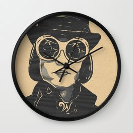Charlie and the Chocolate Factory Willy Wonka Artistic Illustration Stamp Style Wall Clock