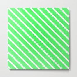 Mint Julep #1 Diagonal Stripes Metal Print