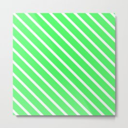 Mint Julep #1 Diagonal Stripes Metal Print