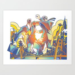 Fighting Businessmen Art Print