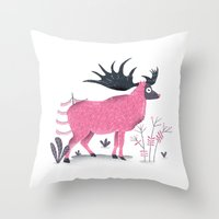 elk Throw Pillows featuring Elk by Rodrigo Fortes