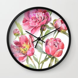 Peonies Watercolor Florals Botanical Design Wall Clock