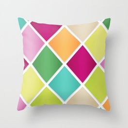 Modern Diamond Geometric Pattern Design // Pink Orange Green Blue Throw Pillow