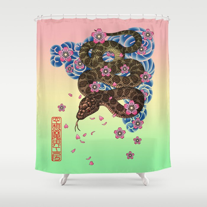tattoo snake  Shower Curtain