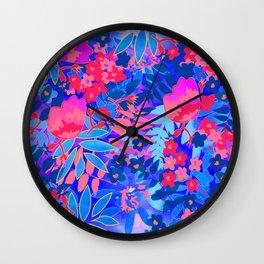 Vibrant Flower Print Wall Clock