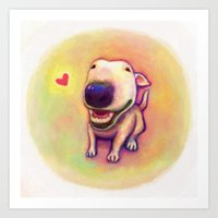 bull terrier Art Prints featuring bull terrier by Kappacha