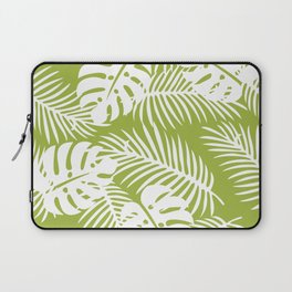 Olive Green Jungle Palm Leaves Pattern Laptop Sleeve