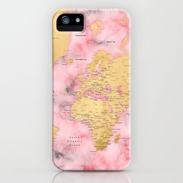 Gold and pink marble world map iPhone Case