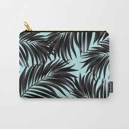 Palm Tree Fronds Black on Cyan Hawaii Tropical Carry-All Pouch