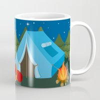 backpack Mugs featuring Camping blue tent by Juliana RW