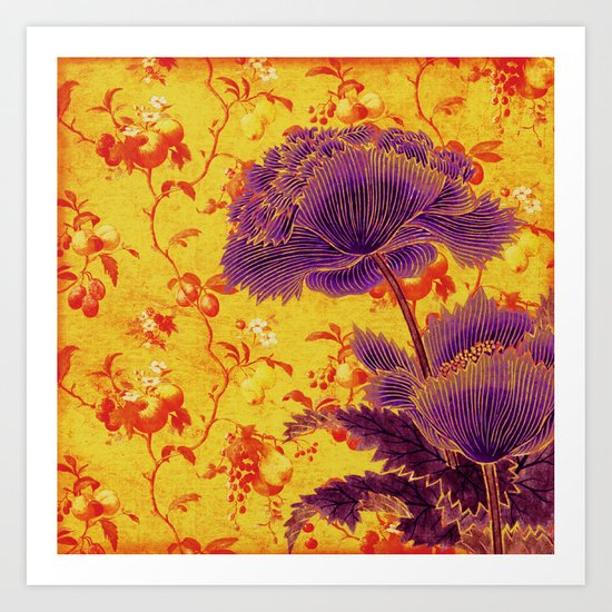 floral chinoiserie Art Print