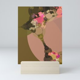rosetta - abstract design of rose pink chocolate brown tan beige green Mini Art Print