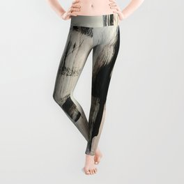 Sweet Tart [2]: a minimal abstract mixed-media piece in pink black and white by Alyssa Hamilton Art Leggings