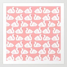 Swan minimal pattern print pink and white bird illustration swans nursery decor Art Print