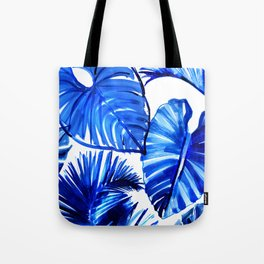 Bright Blue Jungle Leaves Tote Bag