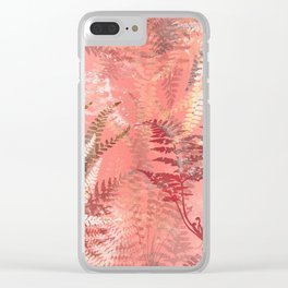 Elegant Coral Gold Fern Leaves Abstract Pattern Clear iPhone Case