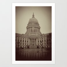 Madison Wisconsin Capital Building Architecture Sepia Photography Art Print