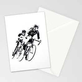 Bicycle racers into the curve... Stationery Cards