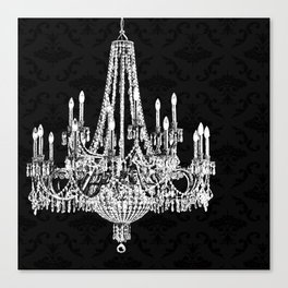 Black and White Chandelier Canvas Print