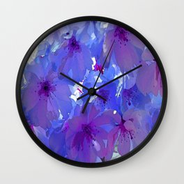 Blue Cherry Blossoms Wall Clock