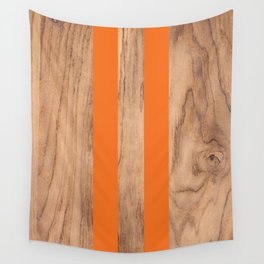 Wood Grain Stripes - Orange #840 Wall Tapestry