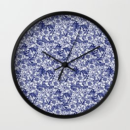 Indigo Florals watercolor painterly botanical boho pattern print nature spring summer monochromatic Wall Clock