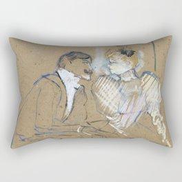 """Henri de Toulouse-Lautrec """"Lucien Guitry et Jeanne Grânier"""" Rectangular Pillow"""