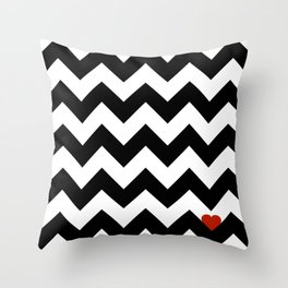 Heart & Chevron - Black/Classic Red Throw Pillow