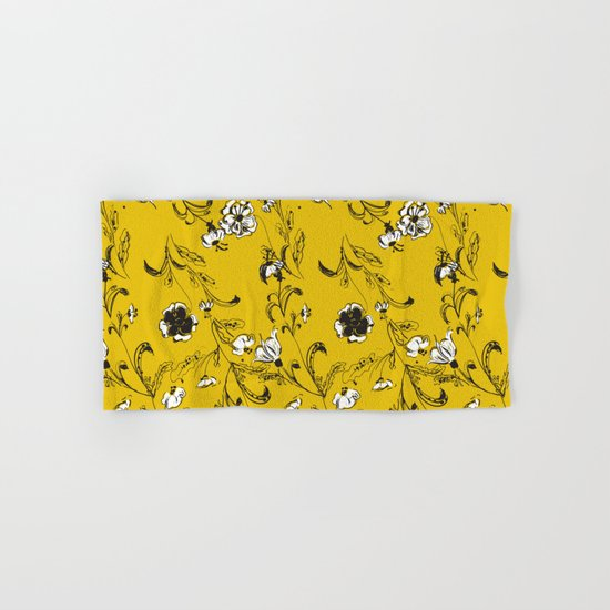 Yellow Floral Pattern Hand & Bath Towel