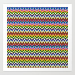 Rainbow, multicolored waves in ethnic style Art Print