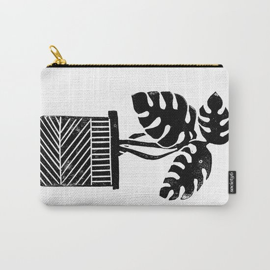 Linocut cheese plant monstera tropical leaf lino print black and white illustration art home dorm  Carry-All Pouch