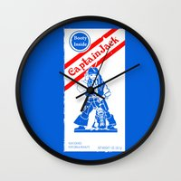 jack sparrow Wall Clocks featuring Cracker Jack Sparrow by sinistergrynn