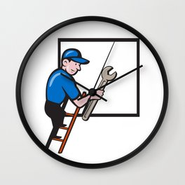 Handyman Climbing Ladder Window Cartoon Wall Clock