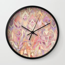 Glowing Coral and Amethyst Art Deco Pattern Wall Clock