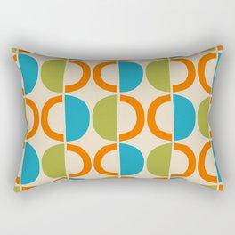 Mid Century Modern Half Circle Pattern 549 Beige Orange Cyan and Olive Rectangular Pillow
