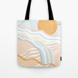 Retro Rainbow Summer Waves Tote Bag
