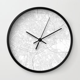 Paris, France Minimalist Map Wall Clock