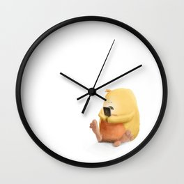 Cute little monster, playing on his phone Wall Clock